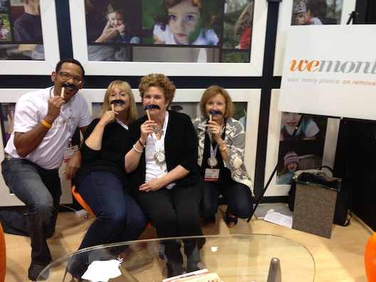 Donning Steve Harvey mustaches at BlogHer 13