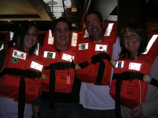 Life jackets on cruise