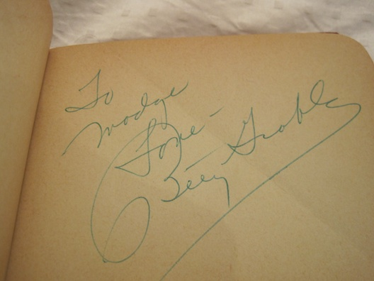 Betty Grable's autograph