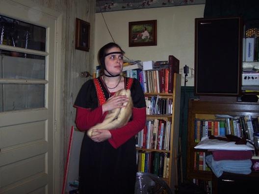 Rachel Joyce with an ermine