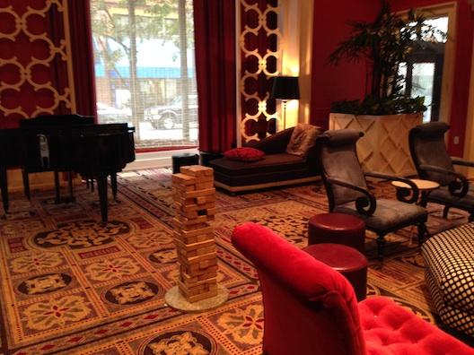 Hotel Monaco lobby Jenga
