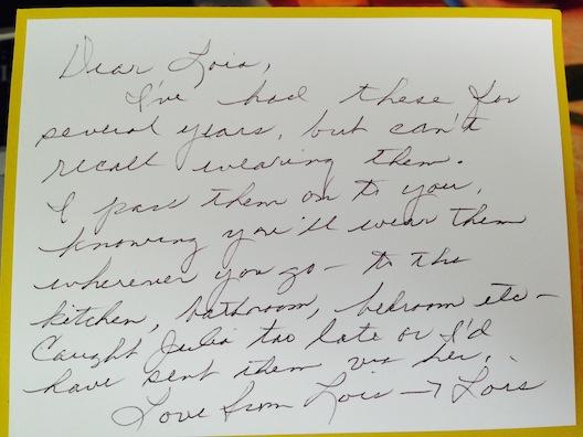 Lois Stanton Van Dahm note