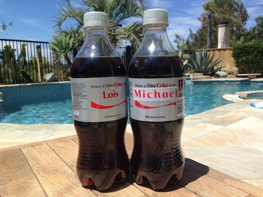 Diet Coke - Lois and Michael bottles
