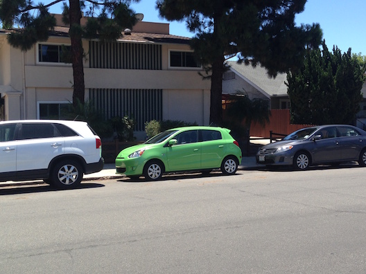Mitsubishi Mirage parking spot