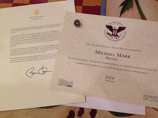 Michael hospice award from White House