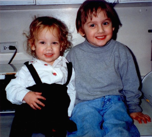 Alex and Sara on kitchen counter